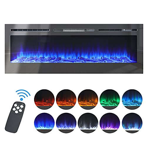 DKIEI 40inch Wall Mounted Electric Fireplace Suite Heater with Timer, Remoet Control, 12 Color Ajustable Flame Effect, 900W 1800W Electric Fires for Indoor Home Use (Mirror)