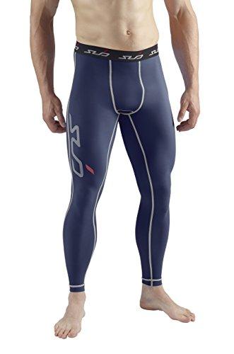 Sub Sports, Pantaloni a Compressione Uomo Biancheria Intima Tecnica Base Layer Lang, Blu (Navy), L