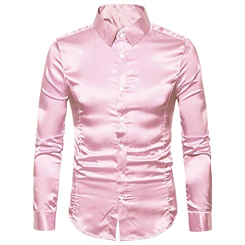 YJNH Herren Popeline Hemd Revers Langarm Slim-Fit formal Arbeit Party Button Hemd Outdoor Casual Daily Wear Streetwear Frühling, Herbst und Winter neu M
