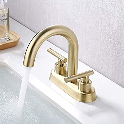 KES 2 Handles Bathroom Sink Faucet Modern 2 or 3 Hole 4 Inches Centerset Vanity Faucet Lead Free Brass Construction Brushed Brass Finish, L4117LF-BZ