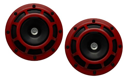 DUAL Super Tone LOUD Blast 139Db Universal Euro RED ROUND HORNS (Quantity 2) High Tone / Low Tone Twin Horn Kit with Bracket Pair Compact - Extremely LOUD for Car Bike Motorcycle Truck for Mitsubishi Eclipse GST GT RS Mirage Evo Evolution VIII IX X VR4 SL Diamante GSX Lancer EVO 3000GT Montero GST Evolution 8 9 10 Galant Outlander Mivec GT MR GSR VR MMC VVT Cedia Carisma Pajero 3A91 3B20 4A90 4A91 4B10 4B11 4B12 4G15 4G69 4N13 6B31 6G75 4G19 4G92 4G63T 6A12 6G72 6G74