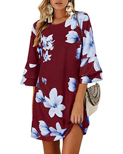 YOINS Vestido Casual para Mujer Verano Vestidos Largos de Fiesta Manga Corta con Cuello Redondo Tops Floral~Wine Red Medium