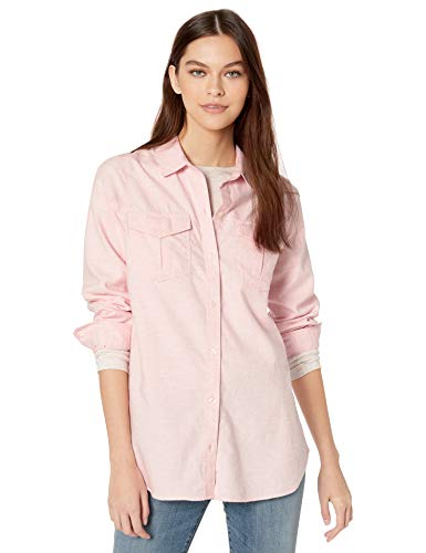 Amazon Brand - Goodthreads Women's Brushed Twill Long-Sleeve Utility Shirt, Pink Heather, Medium