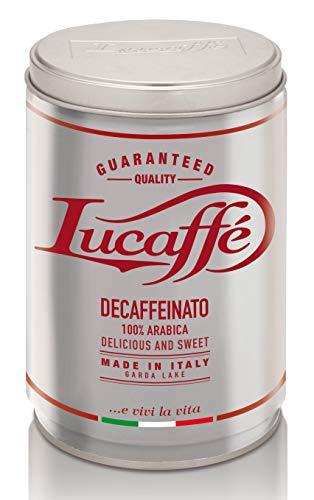 LUCAFFÈ Caffe Decaffeinato, caffè macinato 100% arabica, barattolo caffè 250 gr. acciaio salva aroma, caffè decaffeinato gusto dolce, corpo pieno, crema densa, aroma piacevole