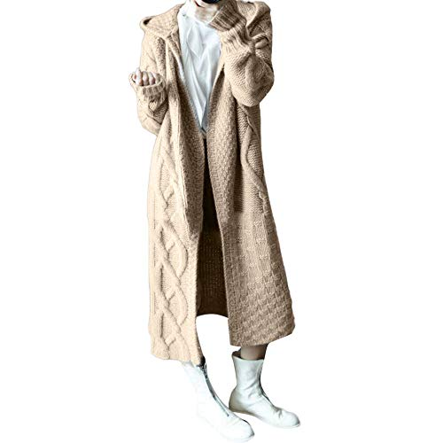 MEIbax Damen Winterjacke Gestrickte Strickjacke Outwear Lange Verdicken Cardigan Wollmantel Wintermantel Trenchcoat