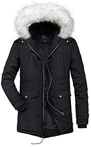 WANGXIAO Heren Katoen Jack, Winter Dik Katoen Winter Kleding Heren Winter Jas Trend Wild Lange Jas Mannen, Zwart-XS