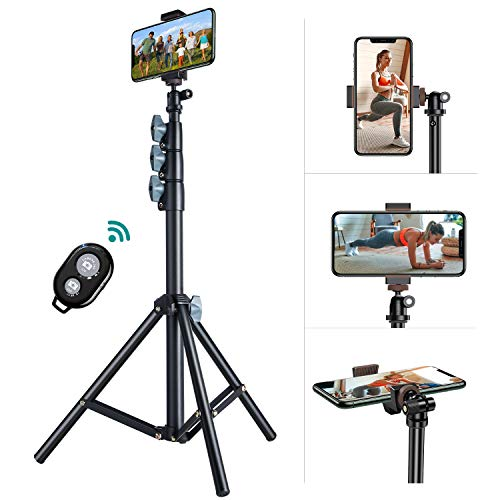 60'' Phone Tripod, VICSEED Selfie Stick Tripod for iPhone & Android Phone Bluetooth Remote, Heavy Duty Tripod Stand for Cell Phone and Camera with 360° Tripod Head and Portable Bag