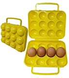 Portable Egg Case Carrier | Container Holder Tray with Handle & Lid 12 eggs tray...