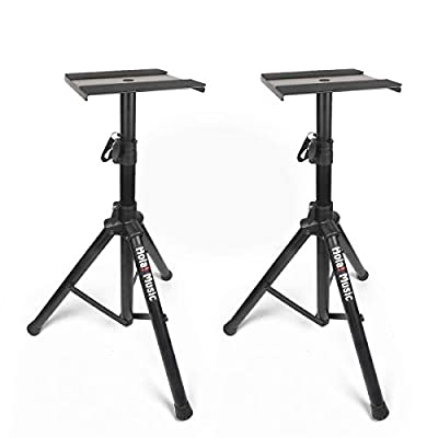 PAIR of Studio Monitor Speaker Stands by Hola! Music, Professional Heavy-Duty Tripod Structure, Adjustable Height, Model HPS-600MS from Hola! Music