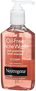 Neutrogena Oil-Free Salicylic Acid Pink Grapefruit Pore Cleansing Acne Wash and Facial Cleanser with Vitamin C, 6 fl. Oz (Pack of 3)