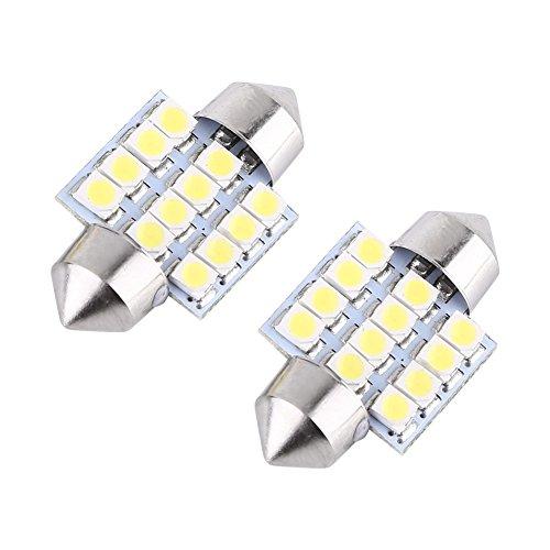 2Pcs Blanco 12V 12SMD 31mm LED Bombillas Coche Interior Luces Puerta Lectura Luz Domo
