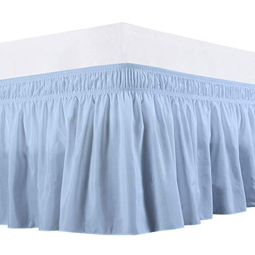 Black Friday & Cyber Monday Deals ! Wrap Around Bed Skirt-14 Inches Drop Easy Fit Twin Size Light Blue Solid (Available for All Bed Sizes and Colors)