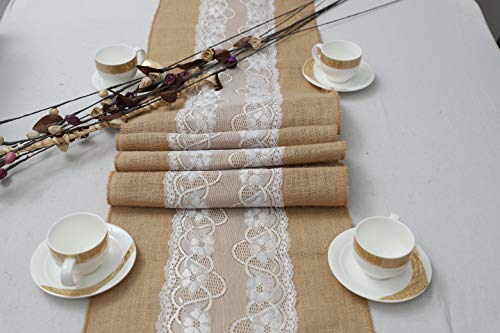 100% Jute Table Runners Long Burlap - 12' x 108' Table Runner with Beautiful Middle Side Lace Pack of 1 for Thanksgiving, Dinner, Wedding, Kitchen, Parties, Dining Table Decoration | Natural