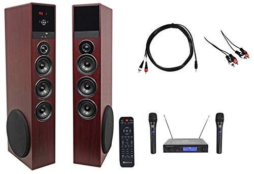 Rockville Bluetooth Home Theater/Karaoke Machine System w/(2 Wireless Mics+Subs