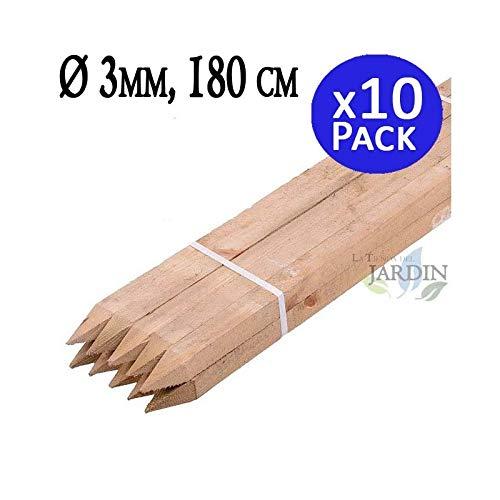 POSTE TUTOR DE MADERA 180 cm, diámetro 3 cm. Util para para construcción de vallas, cercados, cuadras, pérgolas, etc, como en agricultura para soporte de árboles. Pack 10