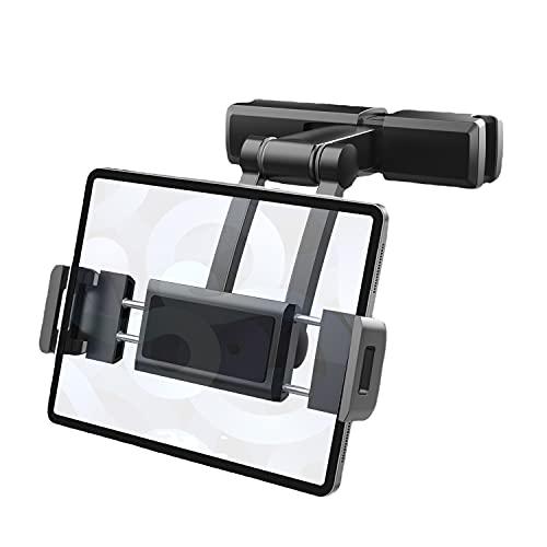 Soporte universal para reposacabezas de coche, compatible con teléfonos y tabletas de 4.7 a 12.3 pulgadas para niños y asiento trasero, ángulo ajustable, compatible con iPad, Galaxy Tab