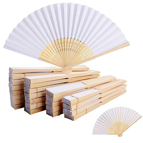 WOVELOT 50 Abanicos De Tela De Bambu y Blanco - para La Decoración del Partido De Baile De Boda En Casa Oficina Regalo De Bricolaje (Tela)