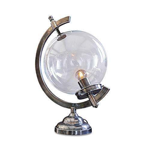 Loberon Tischlampe Gédre, Messing, Glas, H/B/T/Ø ca. 48/36 / 25/25 cm, silber/klar, von A++ bis E, max. 25 Watt
