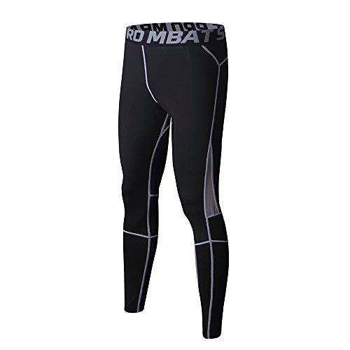 FELiCON Herren-Sport-Kompressionshose, atmungsaktiv, Workout-Kleidung, Lauf-Leggings, kühl, trocken, für alle Jahreszeiten (105-Grau,M)