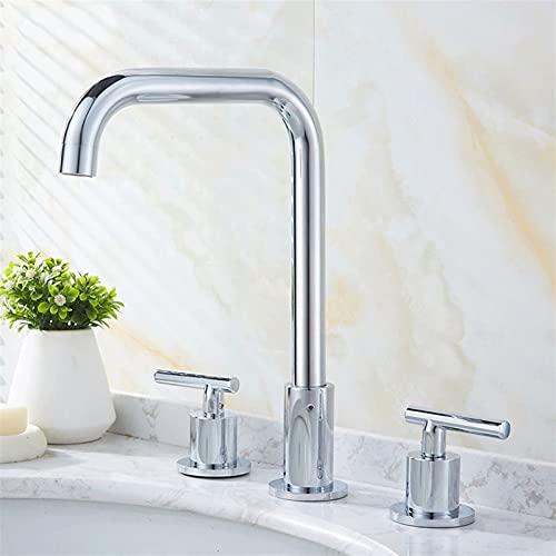 AXWT Estilo Europeo Oro Tres Agujeros Cuenca Faucet Hot and Frief Tipo de Agua Tipo Split Sedd Your Face WashBasin Baño Gabinete Grifo, Toque (Color : Chrome)