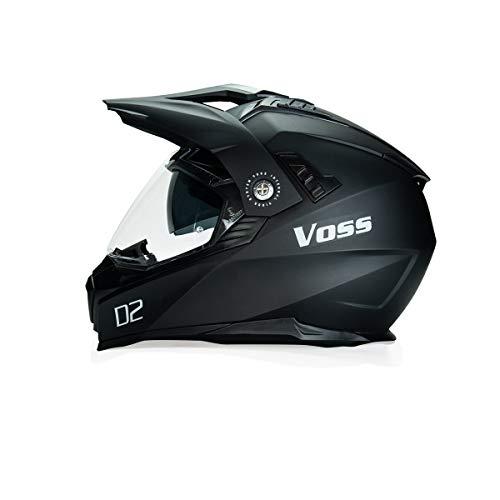Voss 601 D2 Dual Sport Helmet with Integrated Sun Lens in Matte Black - DOT - S