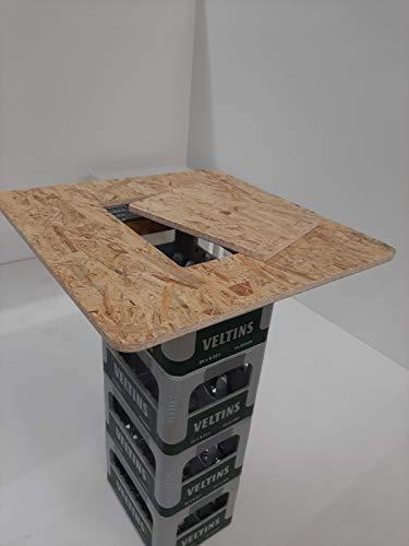 Hermes24 Stehtisch Bistrotisch Holz 71 x 71 cm cm BKTA71OSBME OSB-Platte mit Einlage Bierkastentischaufsatz Stehtisch Partytisch Bierkasten Aufsatz