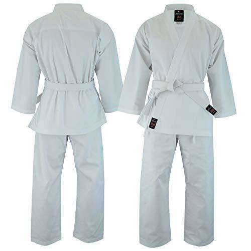 Malino Karateanzug für Kinder aus Polyester-Baumwoll-Mischgewebe, Gürtel, freie Farbe, Weiß, Größe 2/150
