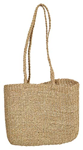 Creative Co-op Handwoven Seagrass Tote Bag Transportkiste, beige
