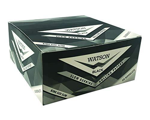 Watson King Size Schlank Zigarettenpapier-Langsames Verbrennen-Verpackung Farbe:Schwarz-Rollenpapier Rauchen-50 Heftchen x 32 Blättchen-Klassisch Drehpapier-Rauchpapier-King Size Slim-nur Papier