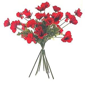 WEFLOWERS10 x Flores de Amapola Rojas Artificiales de 45 cm