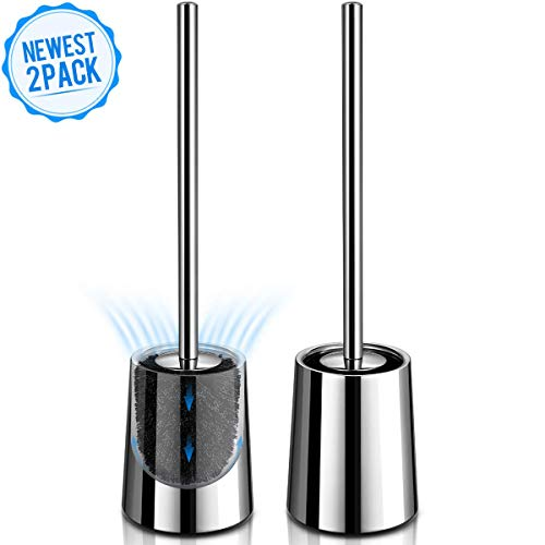 Homemaxs Toilet Brush and Holder, 【2020 Newest】 Upgraded 304 Stainless Steel Toilet Bowl Brush 2 Pack, Ventilation Design for No Smell, Modern Toilet Brush with Durable Bristles, Extended Handle