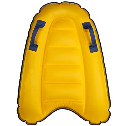 Bodyboard Portátil con Asas,Tablas De Surf Inflables Suaves para Playa, Surf, Principiante De Natación (Color : Yellow, Size : 70 * 50 * 12cm)