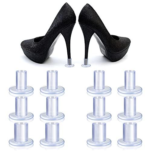 6 Pares Protectores de Tacones Altos Tapones Salvadores de Tacones Transparentes 3 Tamaños Tapones de Talón de Desagüe Tapas de Talón para Zapatos de Tacón Alto y Stiletto Boda Mujer
