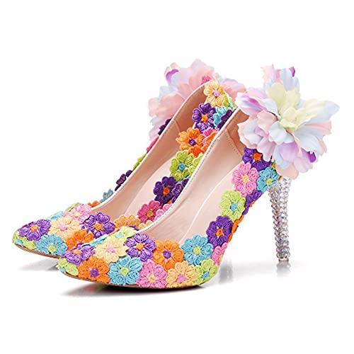 Zapatos Boda Mujeres,Flores De Bordado De Color Zapatos Tacón Novia Talla Grande,Zapatos...