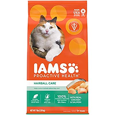 IAMS PROACTIVE HEALTH Adult Hairball Care Protein-Rich Hairball Control Dry Cat Food with Chicken and Salmon, 7 lb. Bag