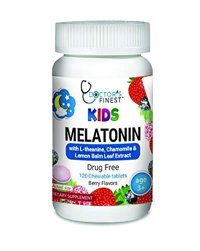 Doctors Finest 1mg Melatonin Chewables for Kids – Drug Free – Vegetarian – GMO Free & Gluten Free – Great Tasting Berry Flavor Pectin Chews – 120 Count