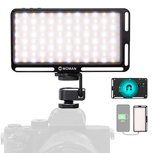 Moman Antorcha Led Video, Foco Led Camara 3000K-6500K Ajustable con Última Cagador Portátil Función, Luz Led Fotografia con Batería Incorparada de 190g, TLCI/CRI 96+, Cable Tipo-C Incluido