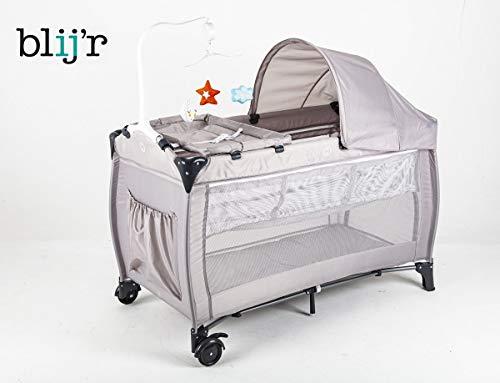 Blij'r Dormi - Reisebett mit Wickeltisch, fahrbar, inkl. Karussell und Markise, Farbe Grau