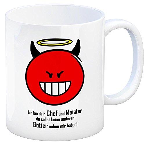 Kaffeebecher mit Spruch: Ich Bin Dein Chef und Meister du sollst Keine Anderen Götter neben Mir haben! Tasse Kaffeetasse Becher Mug Teetasse Büro Chef Boss Arbeitgeber Meister Geschäftsführer Teufel