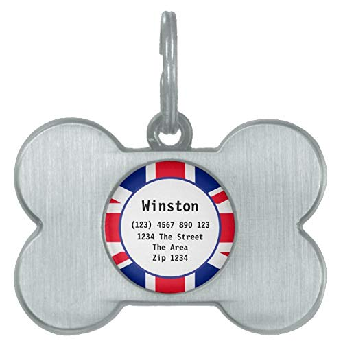 Stainless Steel Pet ID Tags, Union Jack British Flag UK ID Name Pet Name Tag, Dog Tags, Cat Tags, Bone Shaped ID Tag for Dogs and Cat