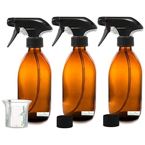 Nomara Organics® BPA-freie Braunglas-Sprühflaschen 3 x 300 ml. Mit Abzugspumpe/Becher, Kappen, Nachfüllbar. Perfekt zum Bügeln/Wäsche/Bad/Reinigung, Pflanzengeister/Tierpflege/Haustier