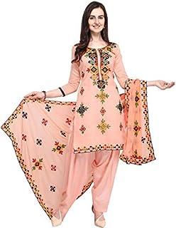9d058c7709 EthnicJunction Holi Special Rajasthani Mirror Work Chanderi Embroidery Unstitched  Salwar Kameez Dress Material (EJ1180-