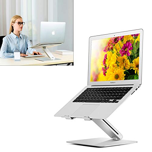 Height Adjustable Aluminum Laptop Stand   Ergonomic Design & Lightweight Stand Compatible with 15.6' MacBook Pro/Air, Dell, Hp, Samsung, Apple Laptop   Stylish Foldable Laptop Holder for Office Desk