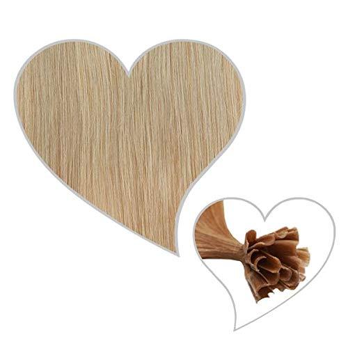 GLOBAL EXTEND® 25 Strähnen mit Keratinbondings Echthaar aschblond#18 30-35 cm Remy Hair Extensions Haarverlängerung Haarverdichtung U-Tip Keratin Bondings 1 Gramm Haarsträhnen 1g