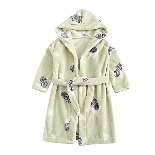Baby Boys Girls Bathrobe Dressing Gown Kids Personalised Cartoon Flannel Hooded Bath Robe With Belt Infants Soft Plush Fleece Bathrobes Nightgown Children Sleepwear Warm Homewear Towels 1-6 Years