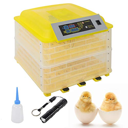 96 Egg Incubator, 2 in 1 Fully Automatic Poultry Incubator with Temperature Control, Automatic Egg Turning, Egg Candler (US Shipping)