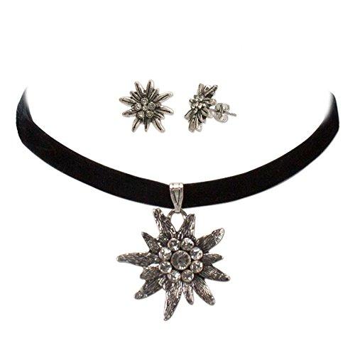 Schmuckset Trachtenkette Samt & Edelweiß-Ohrstecker - Damen Samt-Kropfband und Ohrringe, Kropfkette elastisch, Trachtenohrringe für...