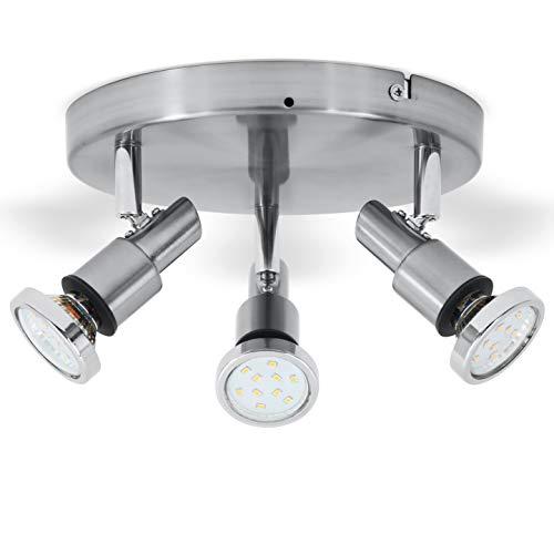 B.K.Licht I LED Bad-Deckenleuchte I Dreh und schwenkbar I inkl. 3x 5W wechselbare GU10 Leuchtmittel I 3 x 400lm I 3.000K warmweiß I IP44 Spritzwasserschutz I Bad-Deckenlampe I Badezimmerlampe