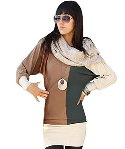 Mississhop Ine Japan Style Schöne 3-Farbige Tunika Bluse Kakao-ecrü-grün M