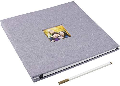 Yopih Album Fotografico 40 Pagine Copertina in Lino Autoadesivo Album per Matrimoni Laurea Viaggi Bambini (Grigio, 28x27cm)